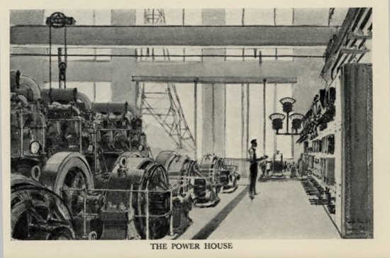 Sketch of the power house at the London Twin-Wave Broadcasting Station Brookmans Park