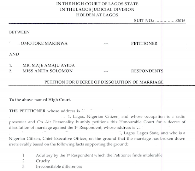 4 Toke Makinwa Files Divorce Petition Against Maje Ayida Entertainment
