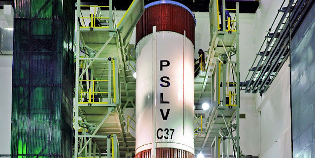 Image Attribute:  PSLV-C37 Liquid Stage at Stage Processing Facility / Source: ISRO