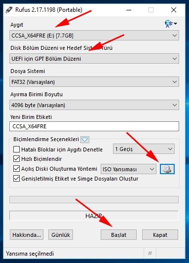 windows 10 usb boot ederek format atmak için tool ile iso kalıbı oluşturma