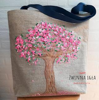 torba ręcznie malowana, haft przestrzenny