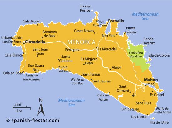 Alugar um carro em Minorca - Mapa