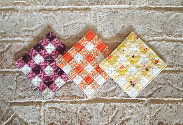 Gingham Coasters from Farm Girl Vintage by Lori Holt sewn by Heidi Staples of Fabric Mutt