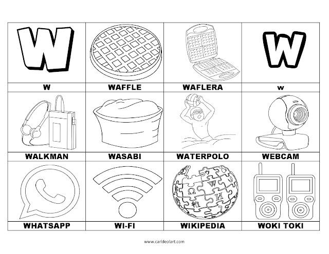 Dibujos Para Colorear Palabras Con W