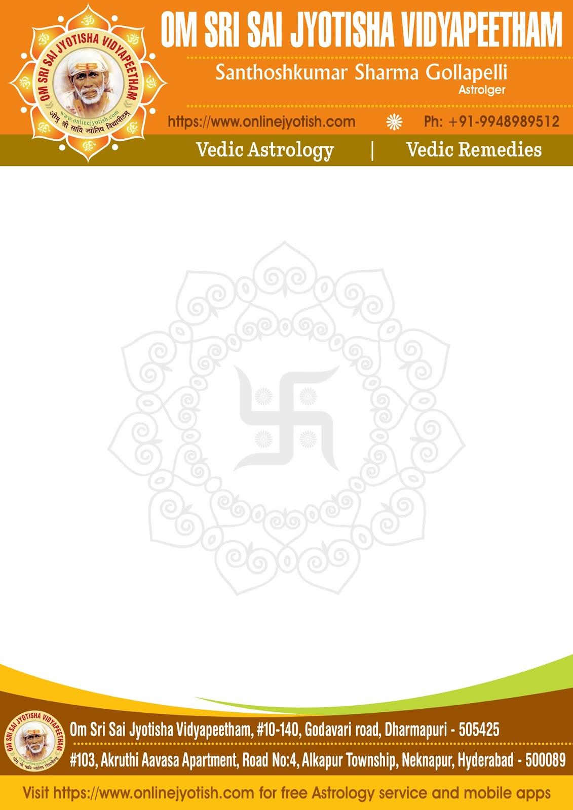 om sri sai jyotisha vidyapeetham letter head design ideas - Letterhead Design Ideas