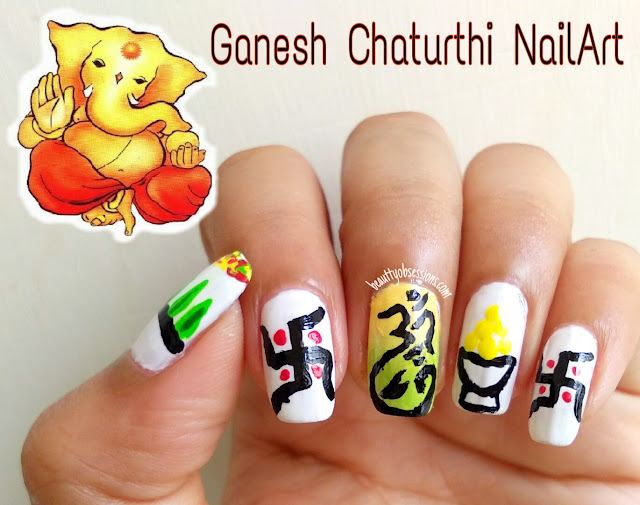 Ganesh Chaturthi Inspired Nailart Tutorial ..