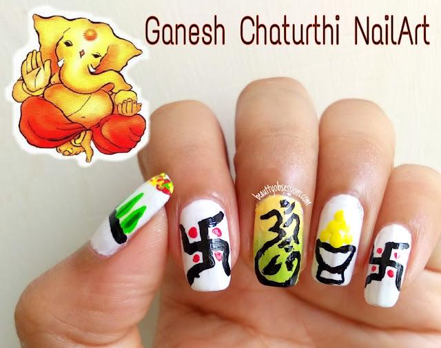 Ganesh Chaturthi Inspired Nailart Tutorial ..