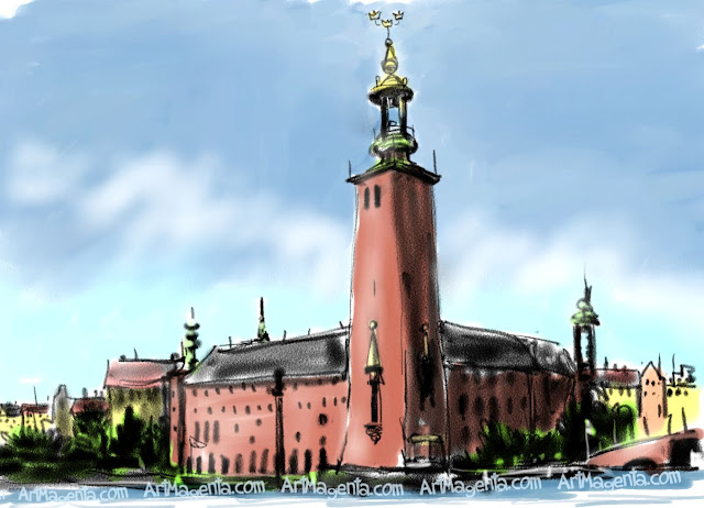 The City Hall in Stokholm is a sketch by artist and illustrator Artmagenta