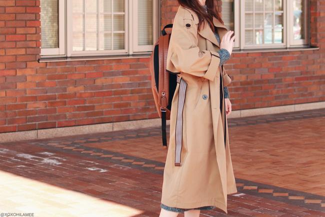 日本人ファッションブロガー,Mizuho K,今日のコーデ,0103,GU-ニットワンピース,Zaful-トレンチコート,ReEdit-ファー付きローファー風スリッパ,COACH-バックパック,Shashi-ホーンネックレス,楽チンカジュアルスタイル
