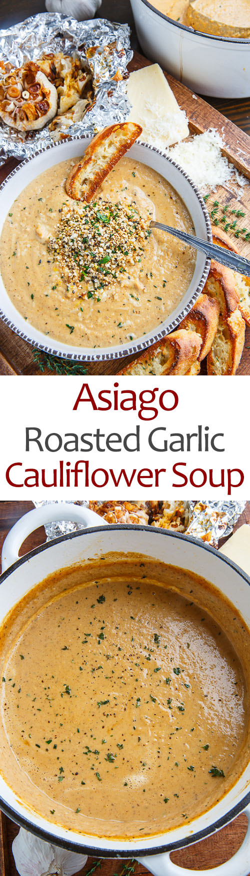 Asiago Roasted Garlic Cauliflower Soup on Closet Cooking