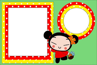 Para hacer invitaciones, tarjetas, marcos de fotos o etiquetas, para imprimir gratis de Pucca.