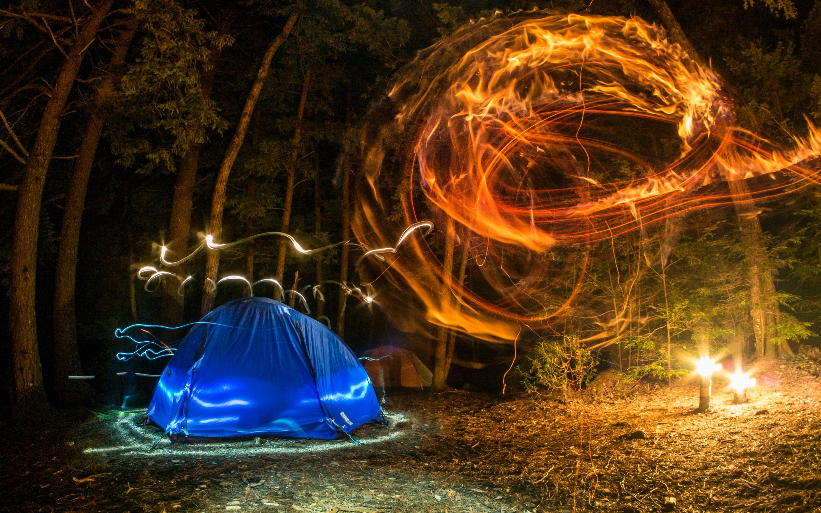 camping forest night lights creativity hd wallpapers