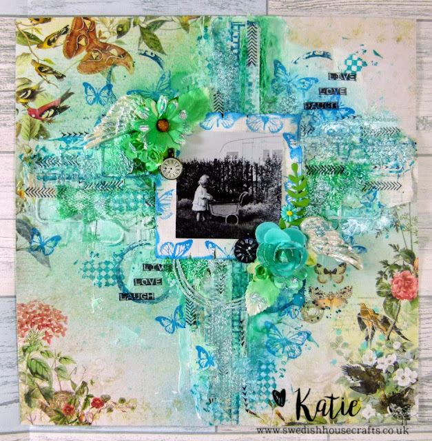 Live Love Laugh Heritage 12 x 12 Scrapbook layout using Gummiapan Stamps and Dies | By Katie