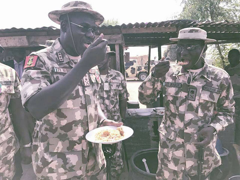Check out what Buratai did when he visited Army troops in Borno