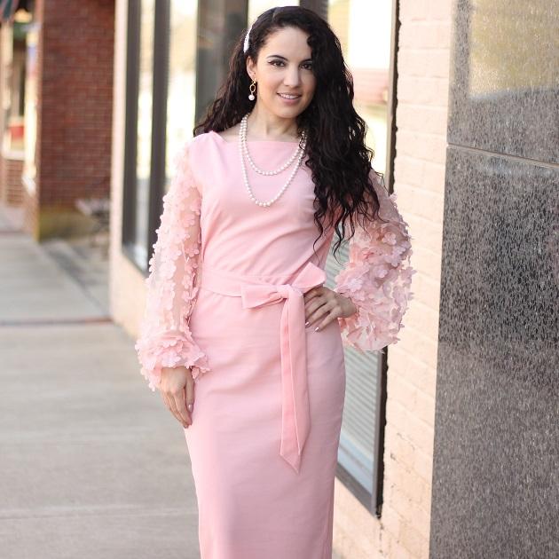 Shein Pink Floral Applique Dress