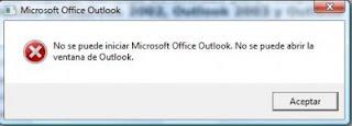 no se puede abrir la ventana de outlook.xml