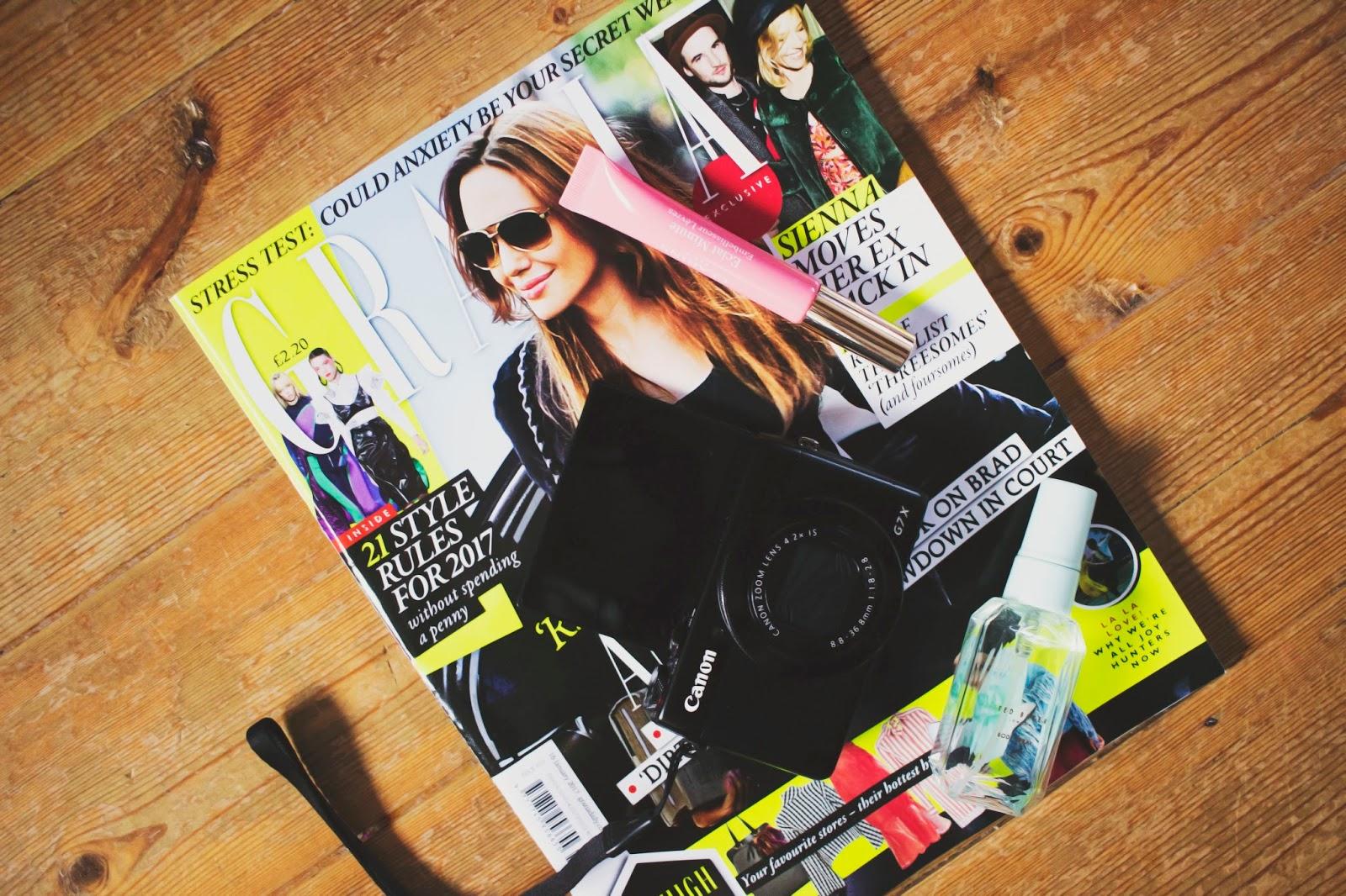 Grazia Magazine, Canon G7X, Flatlay, Katie Writes,