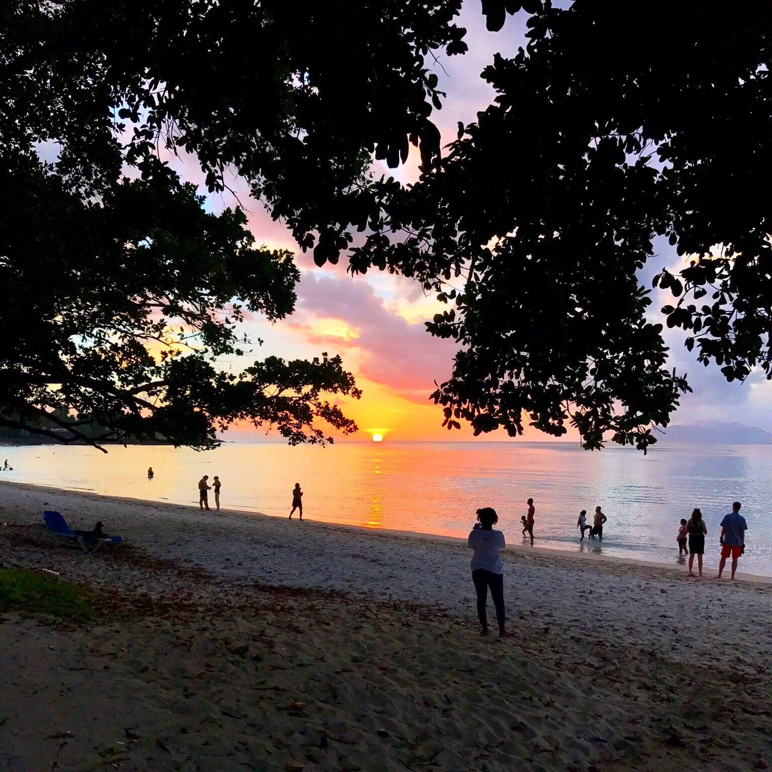 Beautiful Sunset from Beau Vallon on Mahé Island
