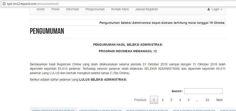 Pengumuman Hasil Seleksi Administrasi KPK Experd IM12
