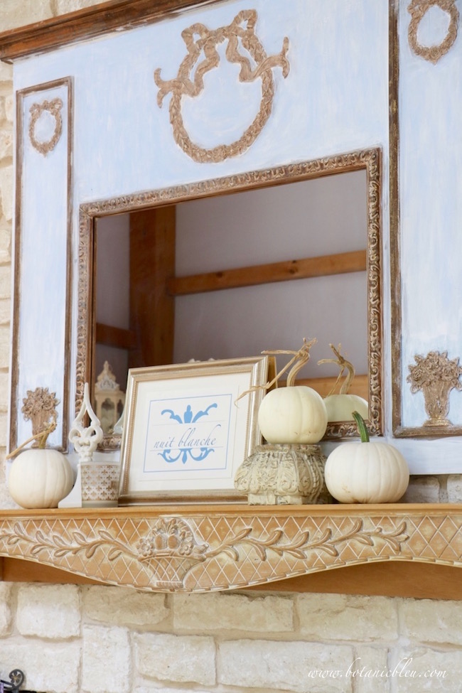 french-design-mirror-fireplace-mantel-white-pumpkins