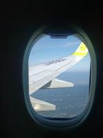 飛行機の窓から見える翼