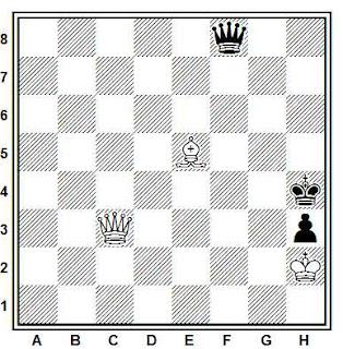 Estudio artístico de ajedrez compuesto por J. Diez del Corral (Schach Echo, 1957)