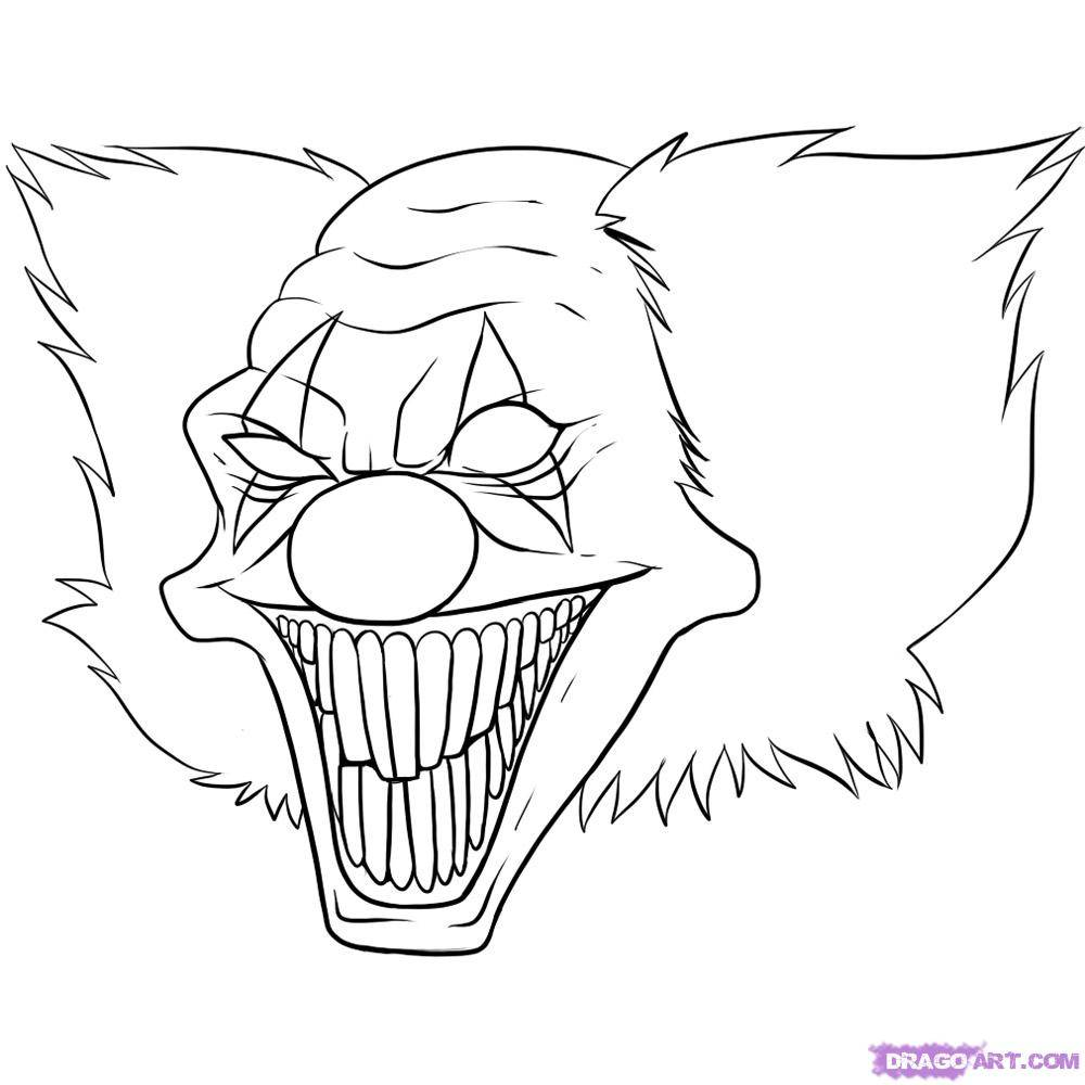 evil clown halloween coloring pages - photo#9