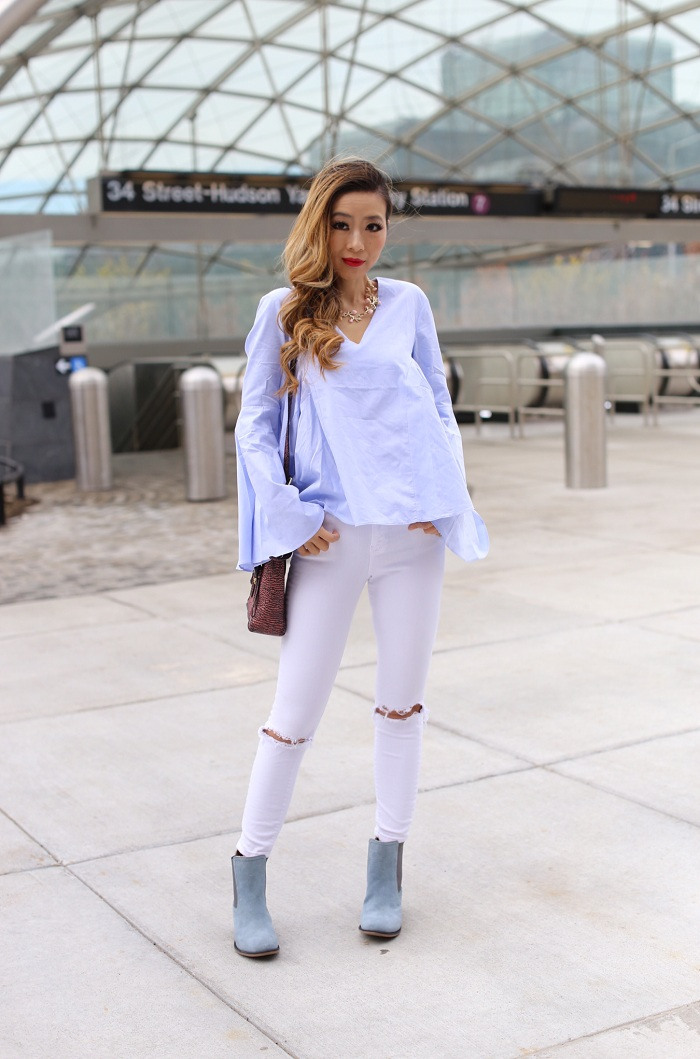 Hush puppies blue suede LANDA NELLIE, worry free suede boots, hush puppies worry free suede boots, 31phillip lim mini pashli, asos white jeans, pixie market Baby pin stripe bell sleeve top by New Revival, endless rose Belle Blouse, bell sleeve blouse, baublebar necklace, baublebar Anderson Collar pink, sping outfit, baby blue outfit, nyc street style