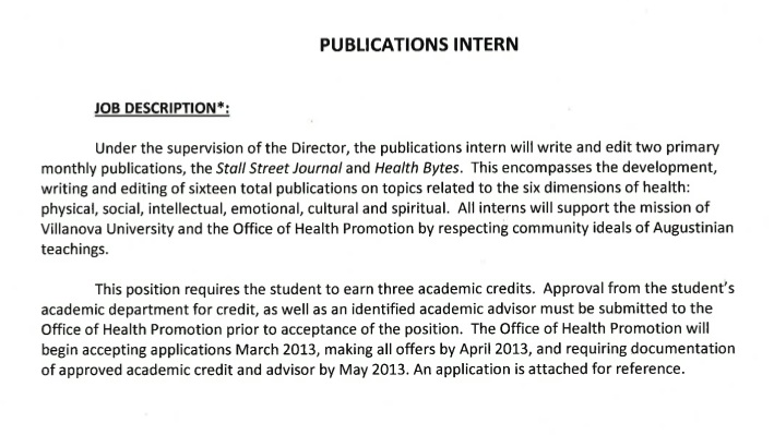 Villanova English Publications Internship with the Office of Health - office intern job description