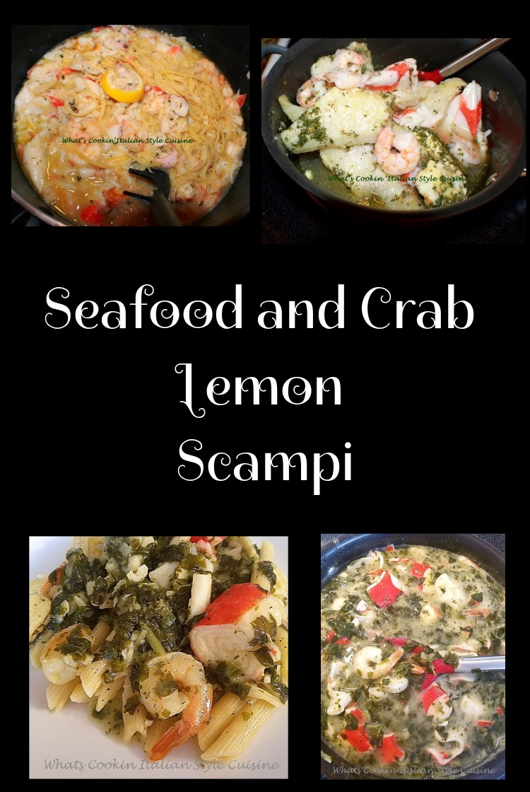 this is a seafood medley of all kinds of fish to make a scampi, This is how to make a lemon scampi sauce with scallops, shrimp, haddock, crab, lobster, clams and all kinds of seafood. You can even make a spinach and lemon sauce for this seafood which is another version I have added. This is all in one pan seafood that will go over pasta.