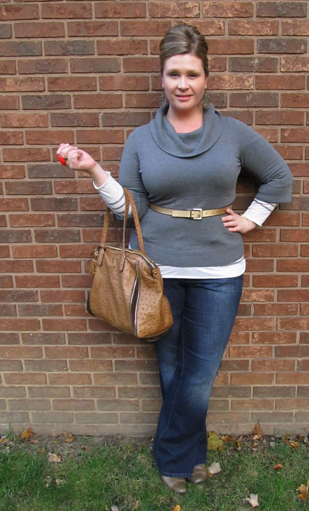 90b9520ecf8 Sweater - LOFT   Striped top - LOFT   Lightly Flared Jeans - Lane Bryant    Reversible gold belt - Lane Bryant Handbag - Furla (renting from BBOS)    Boots ...