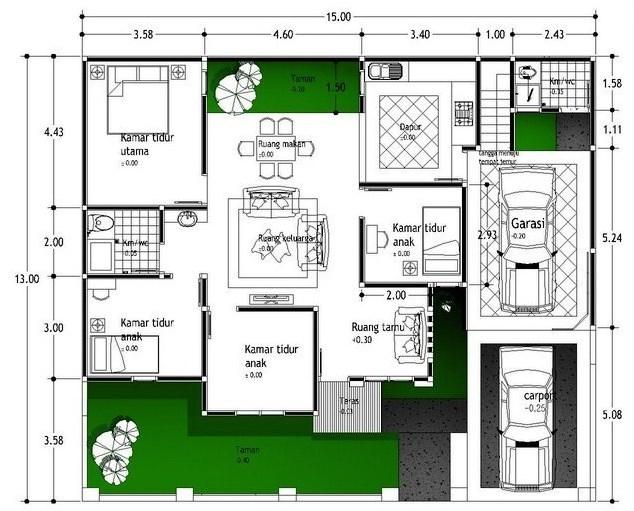 Denah Rumah Minimalis Dengan Empat Kamar