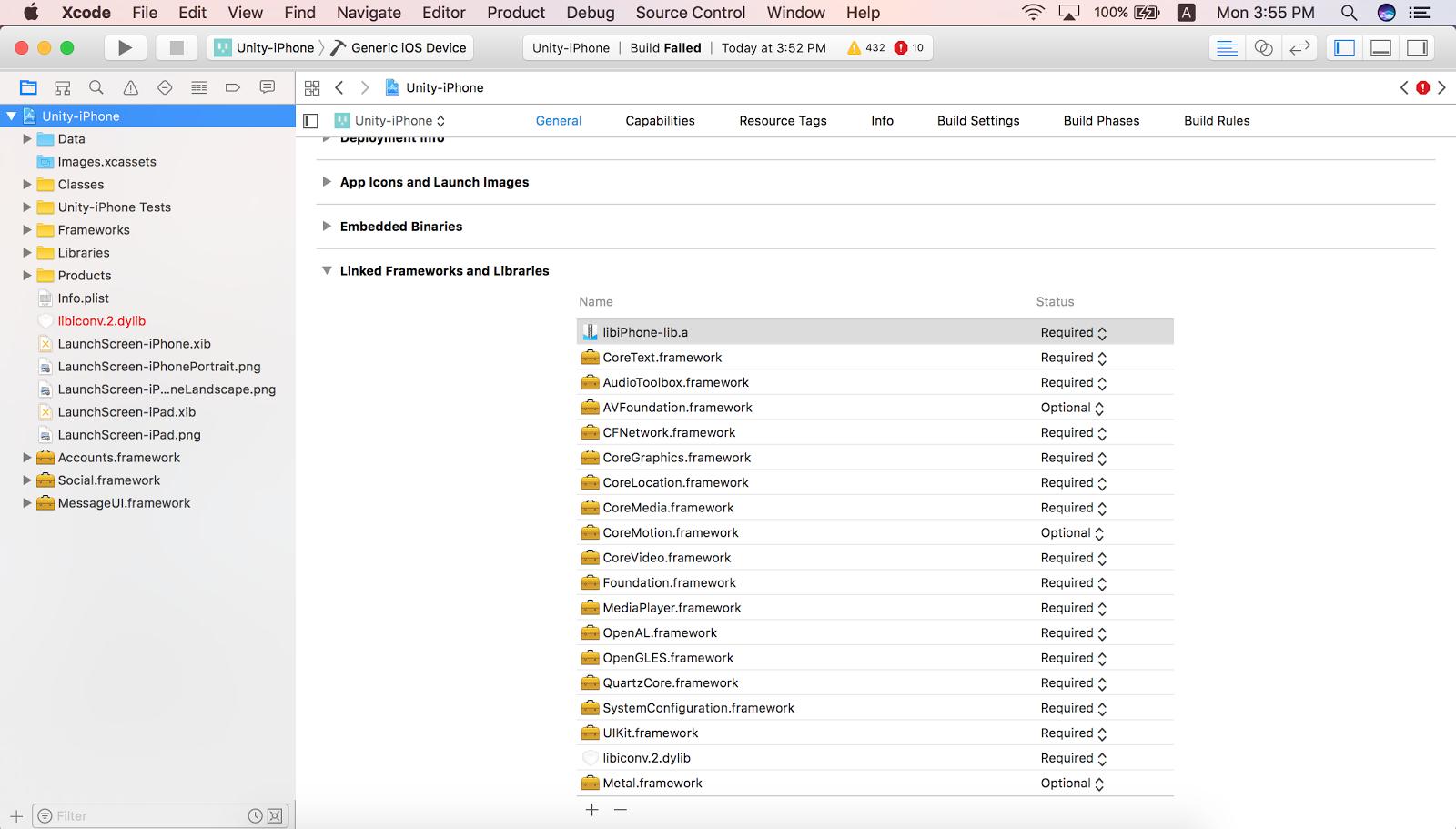 建置Unity iOS xcode 專案遇到的錯誤與解決方案(Linker error)