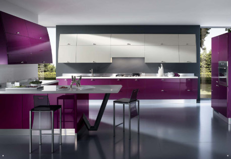 Ruang Dapur Cantik Warna Ungu Hitam Dan Putih