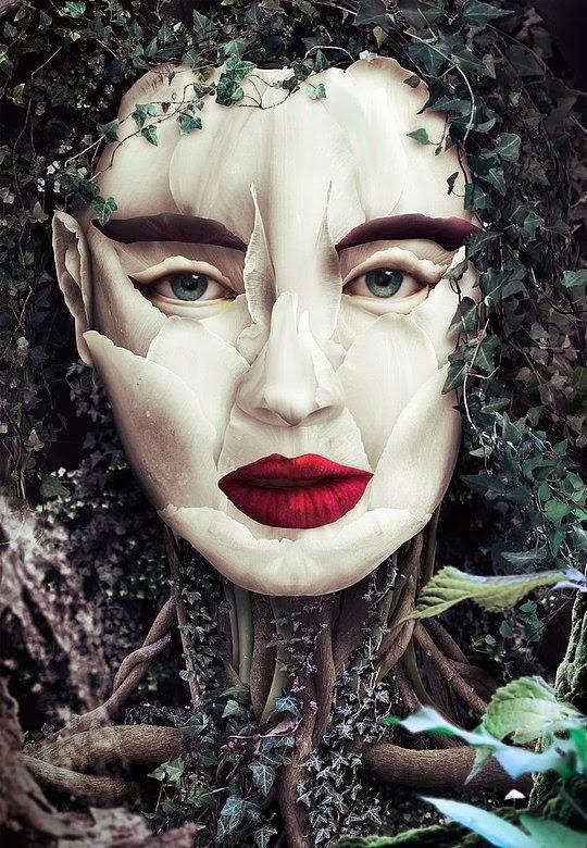 Creatividad en fotomontaje de rostro de mujer