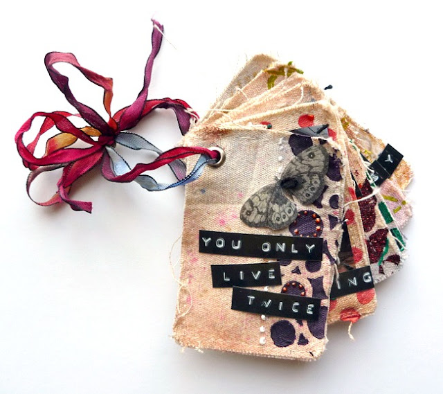 Mixed Media Canvas Album with Packing Tape Image Transfers by Dana Tatar for Paper Wings Productions