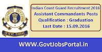 Indian Coast Guard Recruitment 2016 for Asst. Commandants Apply Online Here