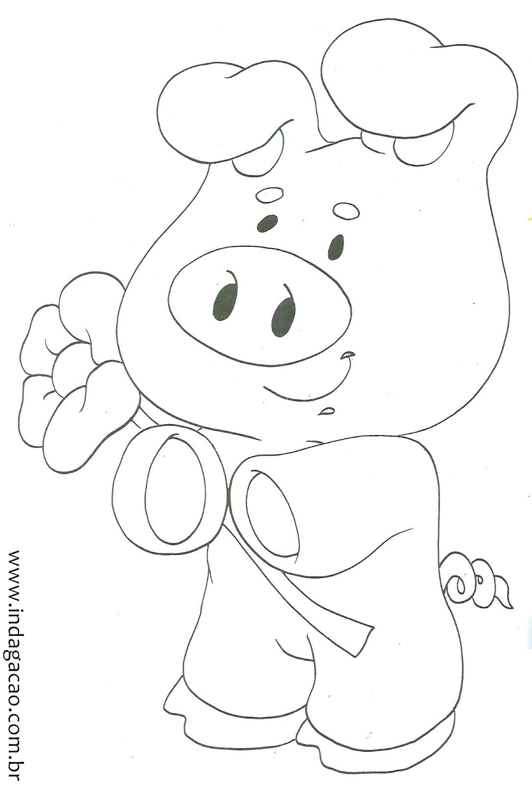 Desenho De Porco Com Flor Para Criança Colorir Indagação