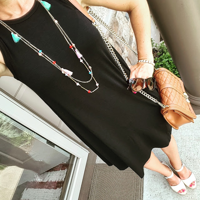 Old Navy Sleeveless Knit Swing Dress // Rebecca Minkoff Love Crossbody Handbag (I found an awesome look-a-like bag for only $35! Target just added a new look-a-like bag too and it's only $30) // ILY Couture Bracelet // Target Tassel Necklace // Charles by Charles David Wedges (similar)