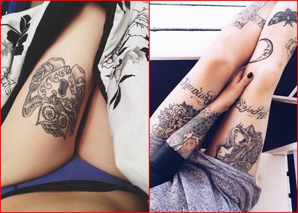 Bein Tattoo Designs für Frauen