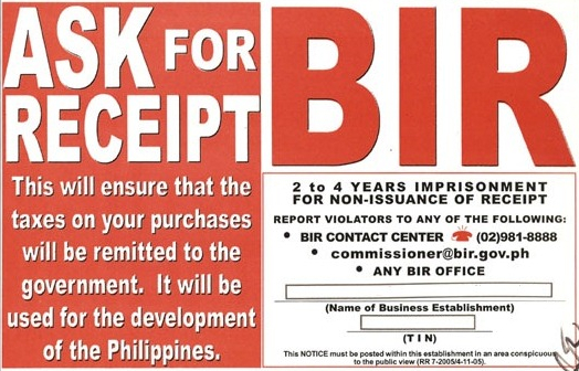 Ask for BIR receipt