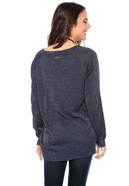 Moda Suéter Calvin Klein Jeans Glitter Azul