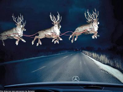 Lustige Adventszeit - Heilig Abend im Auto fahren und Weihnachtsmann Schlitten entdecken