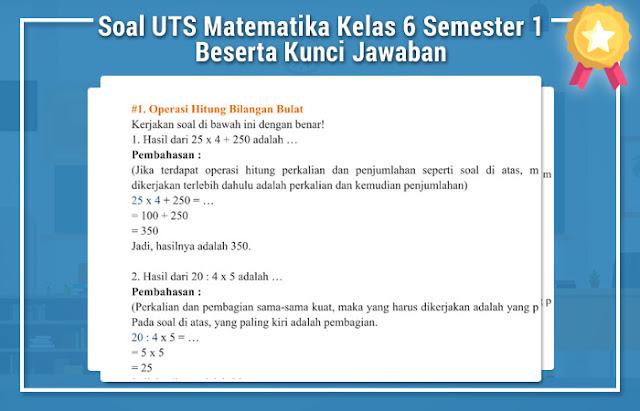 Soal UTS Matematika Kelas 6 Semester 1