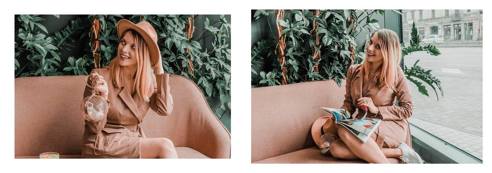 7a nakd sukienka julia wieniawa kolekcja ubrań cena gdzie kupić sukienka trendy na wiosnę 2019 sukienka o kroju płaszcza jak nosić kapelusz złota biżuteria apart torebka asos outlet satisfashion ocena jakość opinie łódź