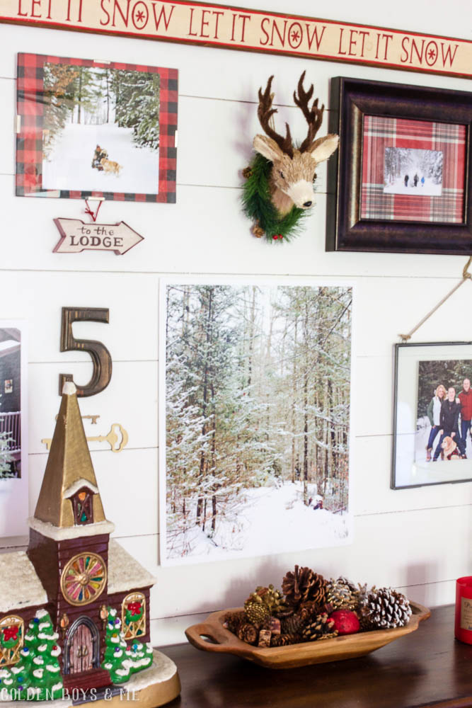 Winter themed gallery wall with Pottery Barn console table