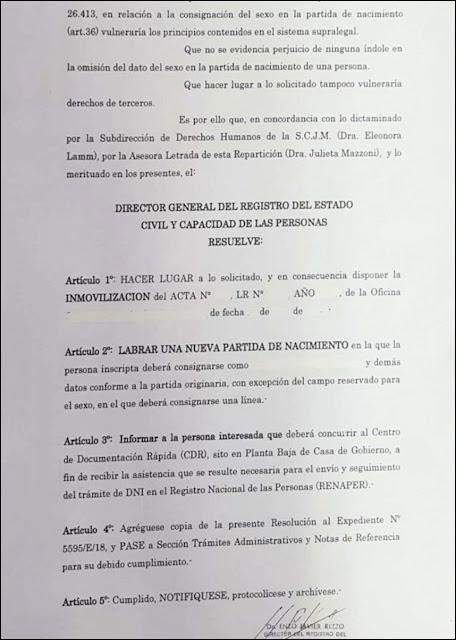 Identidad de Género en Mendoza: Resolución inédita en Argentina, personas con nuevo DNI y partida de nacimiento sin definición de sexo, ni femenino ni masculino, indefinido.