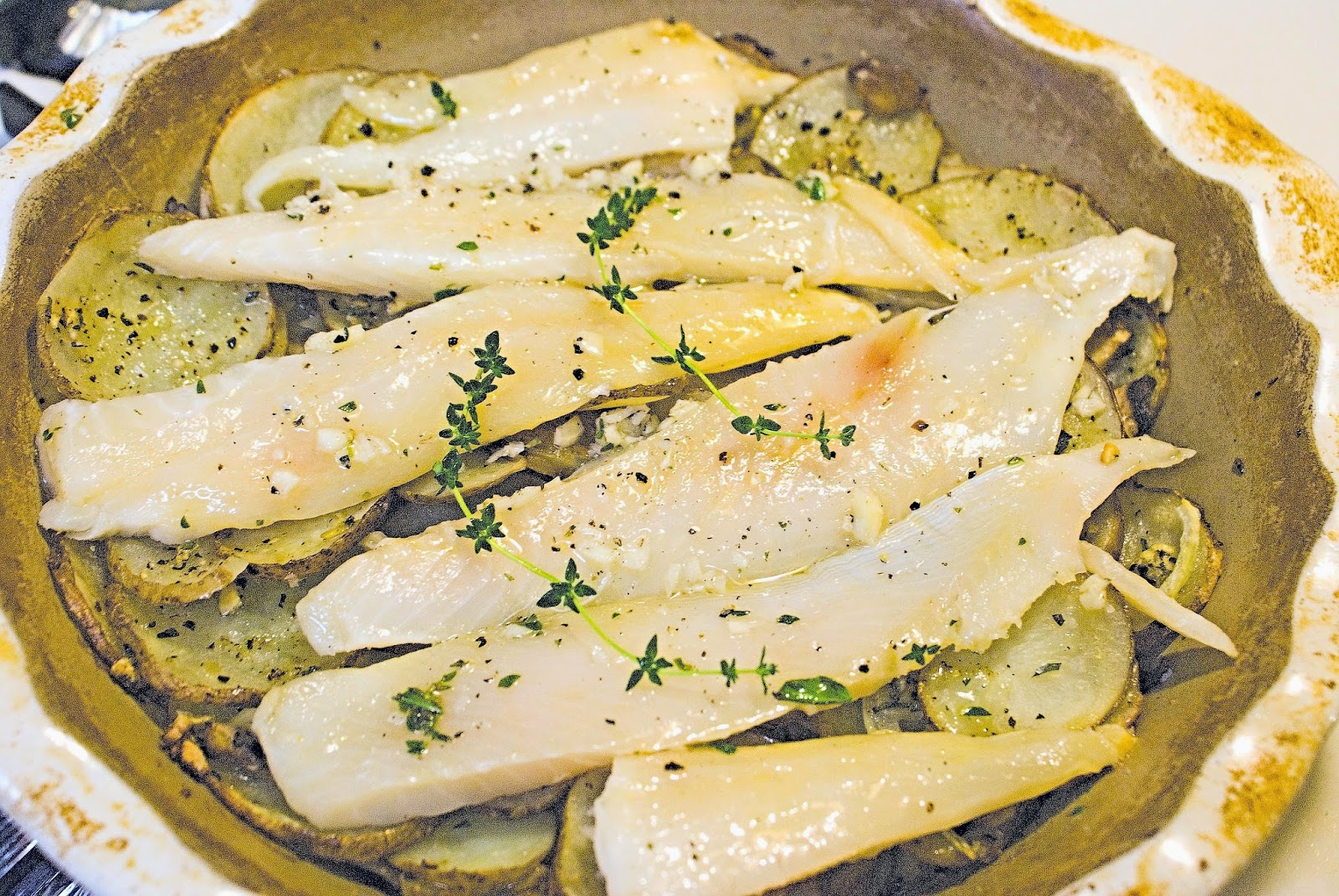 Baked Trout on a Bed of Potatoes
