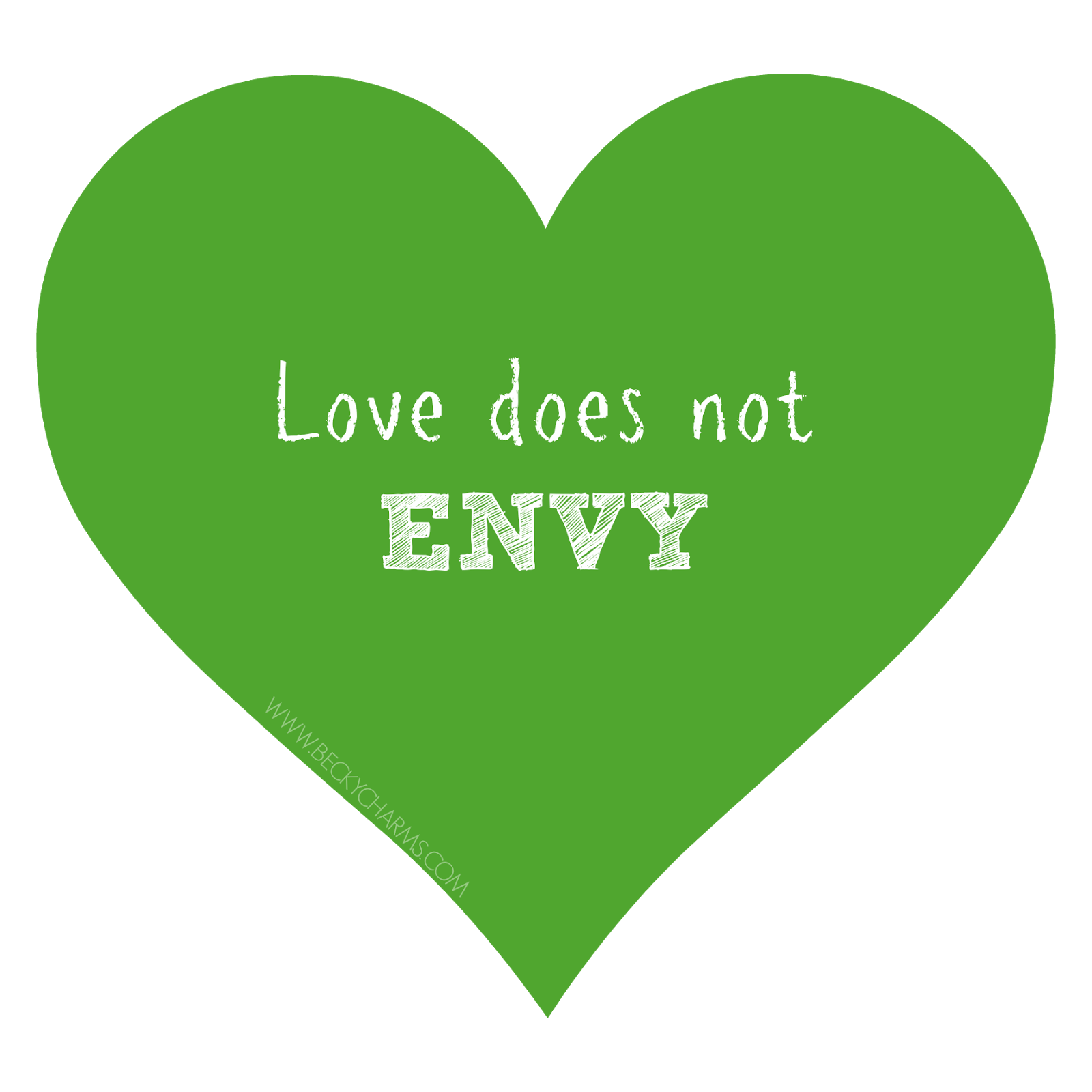 Green Heart Love does not envy by BeckyCharms 2014