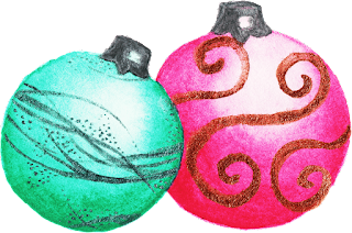 This is a cute holiday icon of two ornaments.